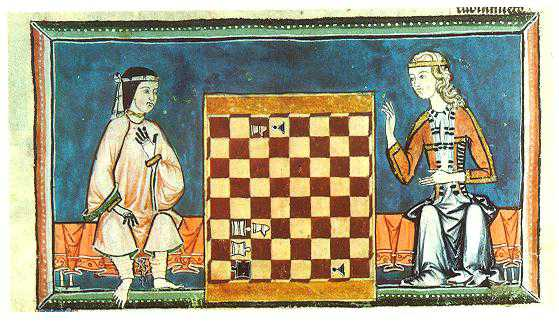 A Muslim woman plays chess with a Christian woman in the Libro de los Juegos (Book of Games), 1283; located at the Biblioteca de la Real Monasterio de San Lorenzo de El Escorial, Madrid, f.54r