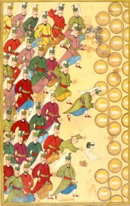 Banquet (Safranpilav) for the Janissaries, given by the Sultan. If they refused the meal, they signaled their disapproval of the Sultan. In this case they accept the meal. Ottoman miniature painting, from the Surname-i Vehbi (1720) at the Topkapı Palace Museum in Istanbul.