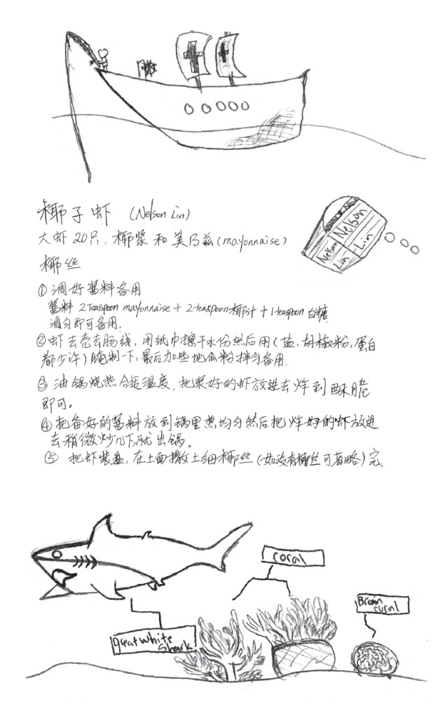 Recipe by Nelson Lin and his family. Illustrations by Nelson Lin,  Two Bridges Kids Afterschool Program.