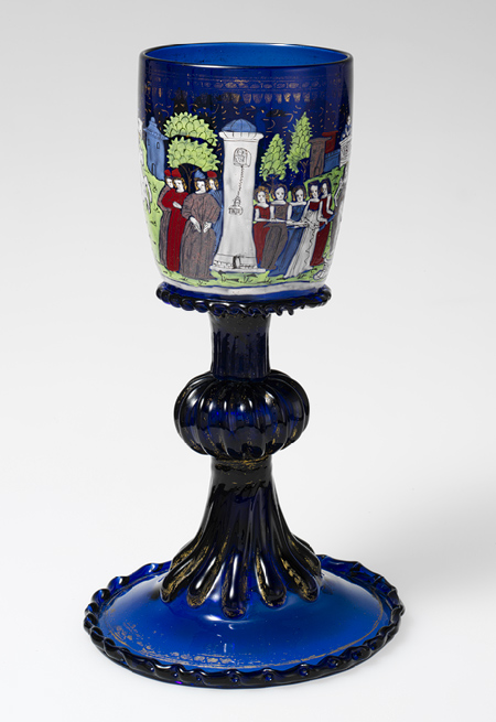 Wineglass with scenes of Virgil and Febilla, ca. 1475–1500