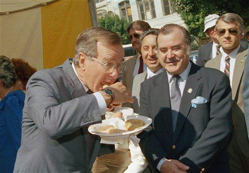 George H.W. Bush eats a tamale