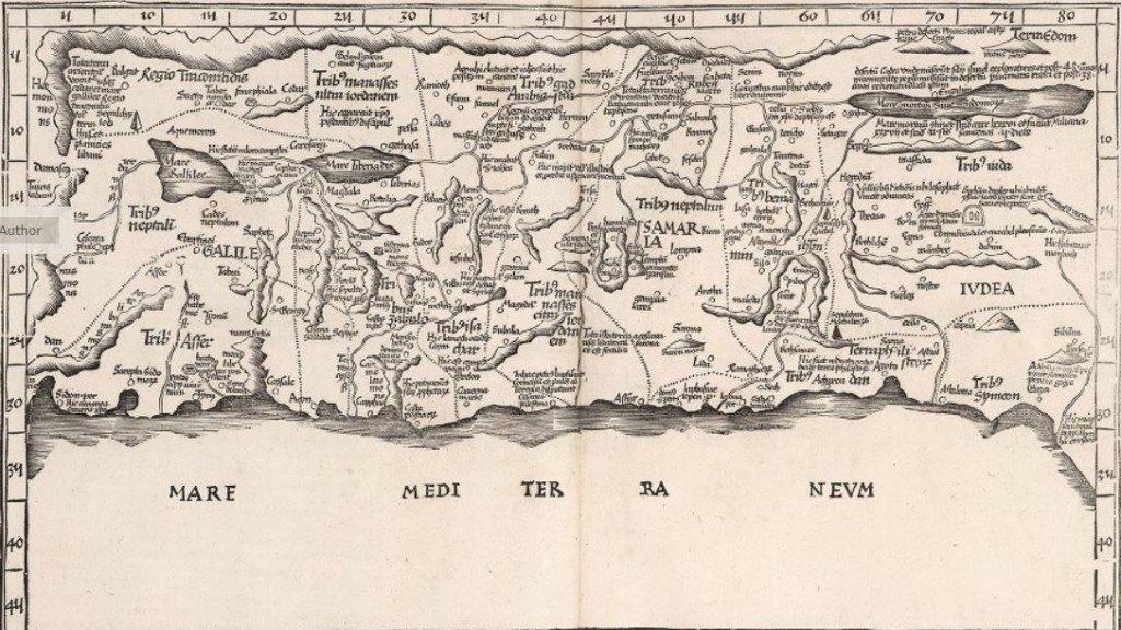 16th century map of the Holy Land, which includes Safed (here called Saphet)